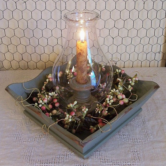 Vintage wood tray hurricane candle lamp shabby chic by