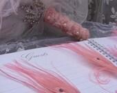 12 Marie Antoinette Pink Fancy Feather Pen Favors