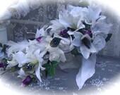 Peacock Diamond Bridal Package in White, Purple and Teal - Deposit Listing