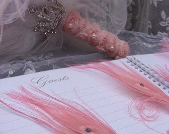 25 Marie Antoinette Feather Pen Favors in your choice of colors
