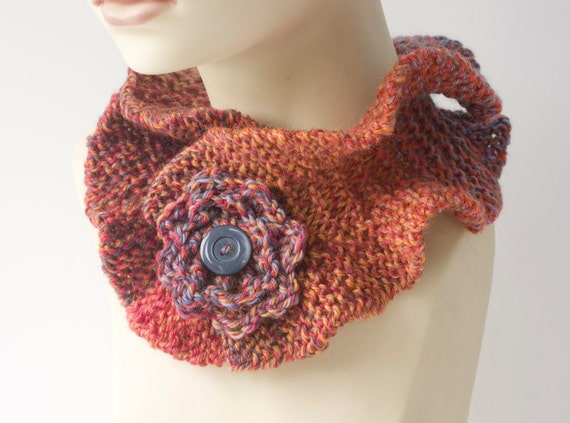 Hand Knit Neck Warmer,  Ruffle Cowl Scarf ,Flower Collar, Ruffled Neck Warmer, Fall Colors