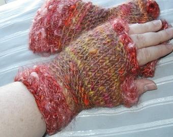 Sunset handspun handknit wristwarmers