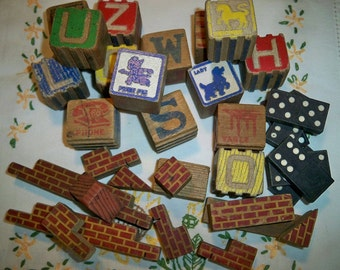 SALE! Vintage Wooden Toy Alphabet Blocks With Tin
