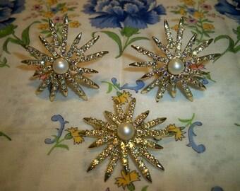 SALE! Vintage Emmons Rainbow Star Brooch and Earrings Book Piece
