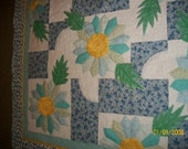 Blue and yellow Dresden Plate Flowers Lap or Throw Quilt 60 x 47