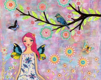 Fairy Art - Fairy Art Print - Large Nursery Art - Fairy Painting - Large Art Print - Butterfly Wings Fairy Art Print - Girls Bedroom Art