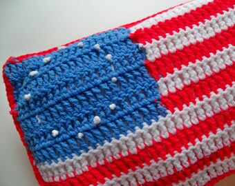 Sale - Vintage CROCHETED FLAG PILLOW/Flag Pillow/Vintage Flag Pillow/Handmade Flag Pillow