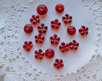 Sale - DARK RED Beads/Czech Glass FLOWER Beads/Red Orphan Beads/Red Mixed Lot Beads