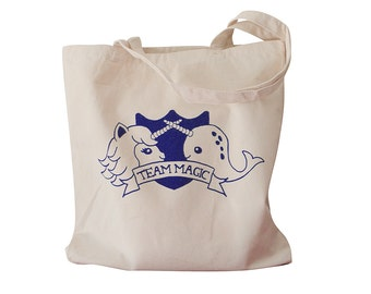Unicorn Narwhal Tote Bag - TEAM MAGIC Priont on a Natural Canvas Tote Bag