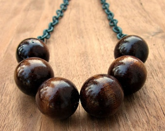 Chunky Wood Bead and Gray Nylon Chain Adjustable Necklace