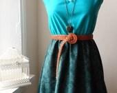 Handmade Jennifer Lilly Vintage Inspired Whimsical Jade Green Bottle Green Floral Dress // Boho Meadow Prairie Picnic Bohemian Dress (S,M)