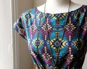 Boho Aztec Dress in Teal Jade Green and Dark Purple / Handmade / Choose your size