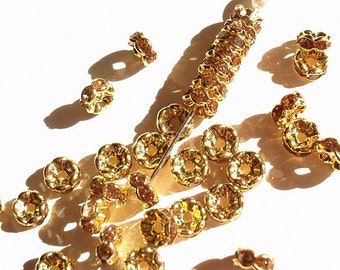 14 Golden Brown Rhinestone Rondelle Spacer Beads, Jewelry making Bead Supply, Graded A, Golden Plated Brass , 7mm Diameter