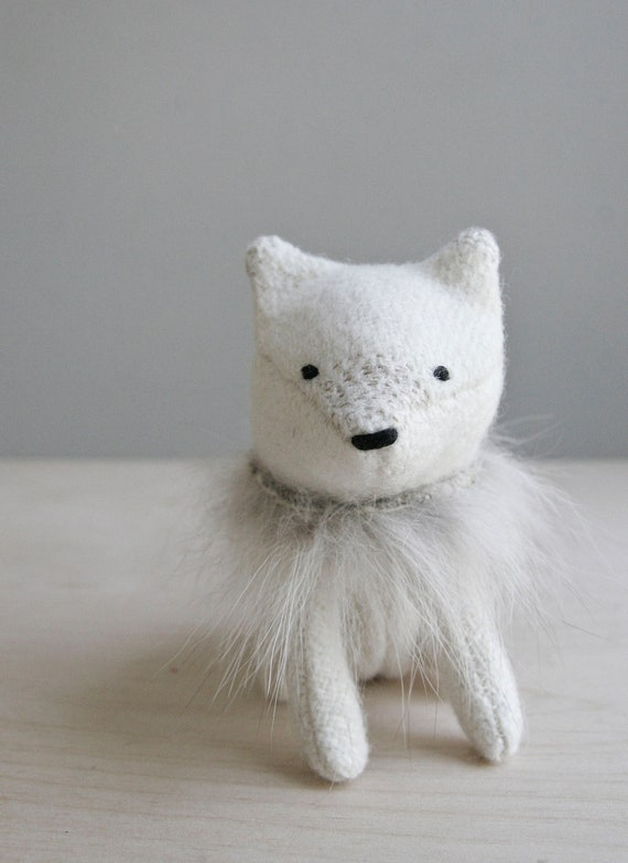 arctic fox / soft sculpture animal RESERVED