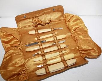 1920s FRENCH IVORY,8 pc. Travel Manicure set,Vanity,CELLULOID, Boardwalk Empire Era, Manicure set & Leather folding case