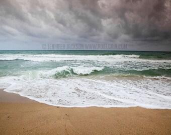 Beach Home Decor Photography,  Fine Art, beach, ocean, surf, sea, teal, green, beige, ocean wave, to the sea, stormy beach weather