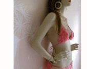 Malibu Barbie Vintage 1975 Crocheted Cotton Bikini PINK