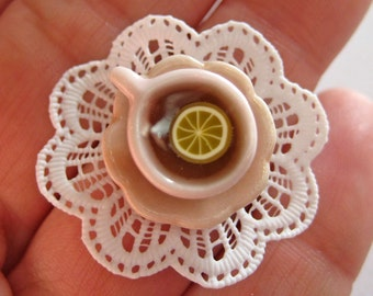 Pink Tea Cup Ring with Lace Doily - Food Jewelry