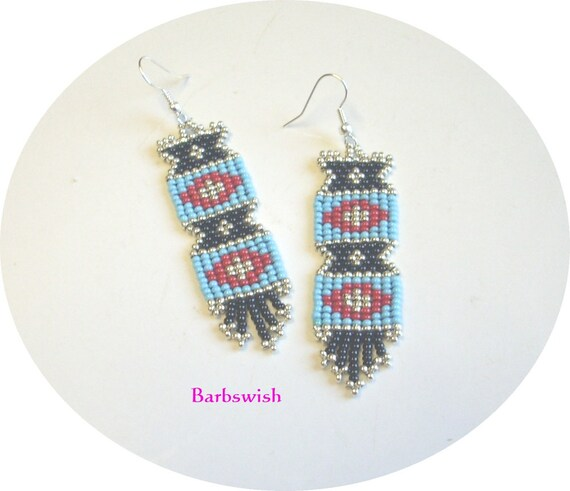 Native American Style Handwoven Seed Bead Earrings  Reflections in Turquoise and Black