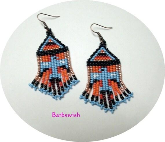 Native American Style Handwoven Seed Bead Earrings  THUNDERBIRD