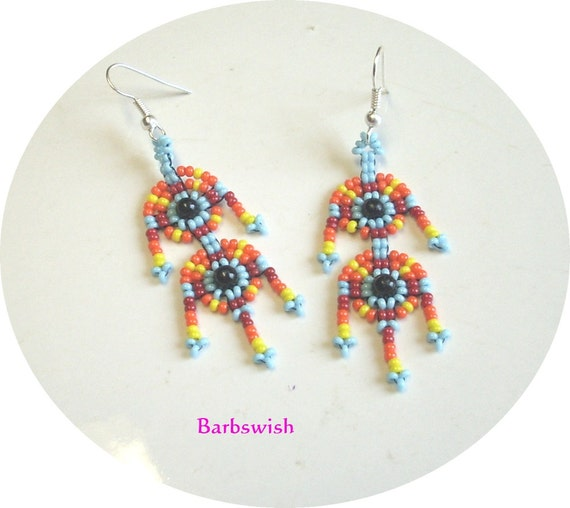 Native American Style Handwoven Seed Bead Earrings  No Name