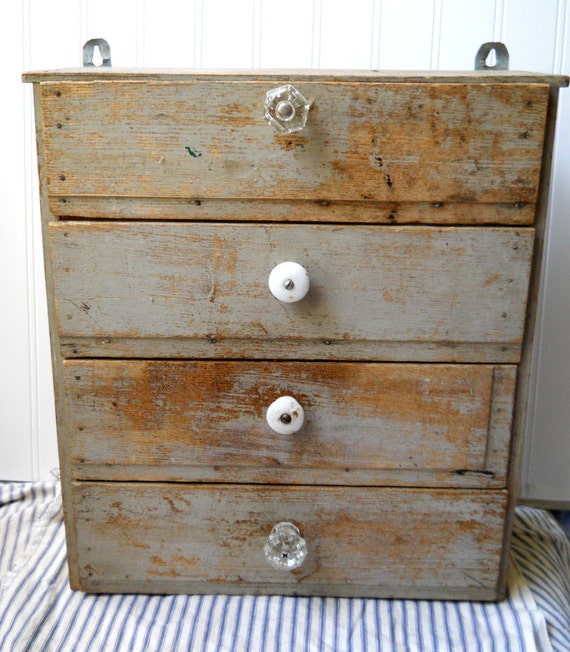 Antique Primitive hanging cupboard cabinet Fab French Grey paint great patina 4 drawers Farmhouse Chic