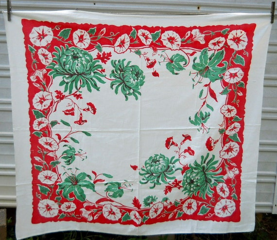 Vintage tablecloth topper red white green florals flowers Farmhouse Cottage Chic