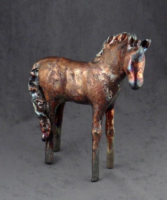 Copper Raku Horse 453