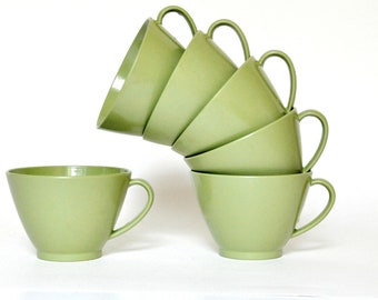 Coffee /Cups /Green/ Vintage/ Kitchen /Home Decor/ Melmac