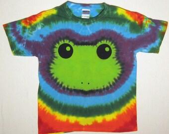 Rainbow Tie Dye T Shirt, Tree Frog Tie Dye Shirt,  Youth Medium
