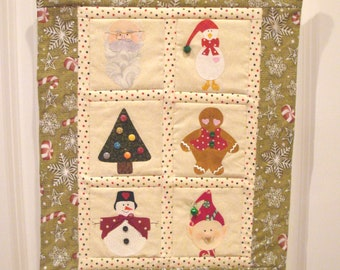 Sweet 6 Patch Christmas Quilt Wallhanging Decoration Santa Elf Gingerbread Man Snowman Tree Decorations Goose