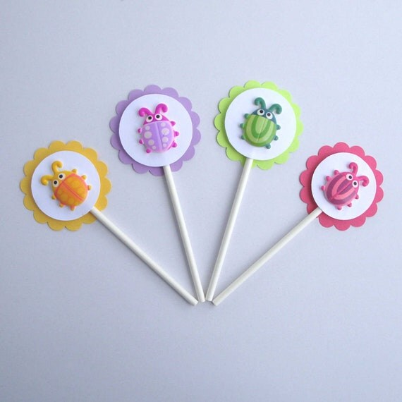 Cute as a Bug Cupcake Picks Set of 12 - Kids Party, Bright Yellow, Green, Pink, Purple