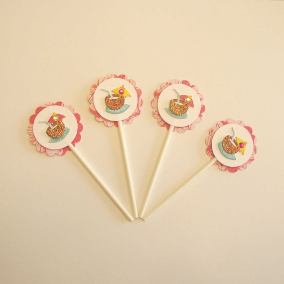 Luau Cocktail Cupcake Picks Set of 12 - Hawaiian Theme Party, Bright Pink and Yellow, Tropical Drink