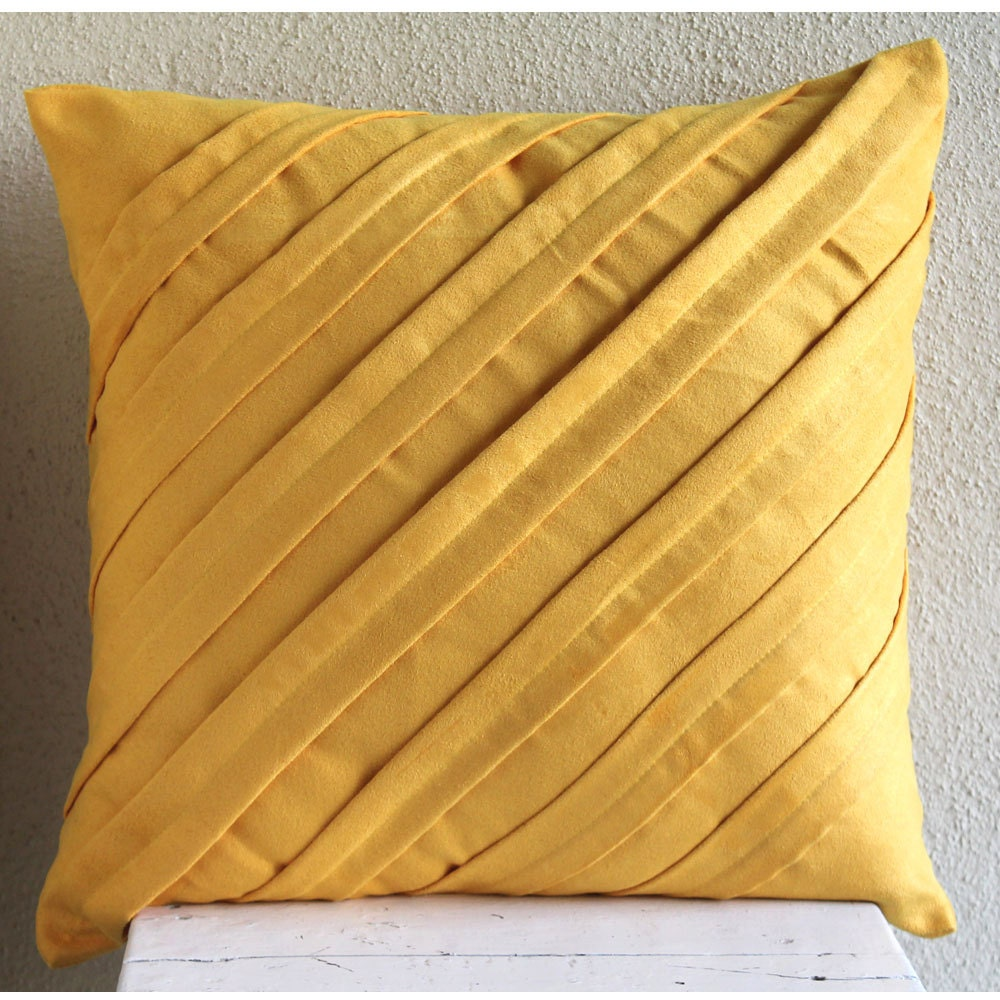 Mustard Yellow Pillows Cover Square Textured Pintucks Solid