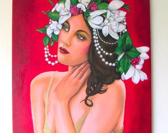 Woman with Headdress and Pearls original painting