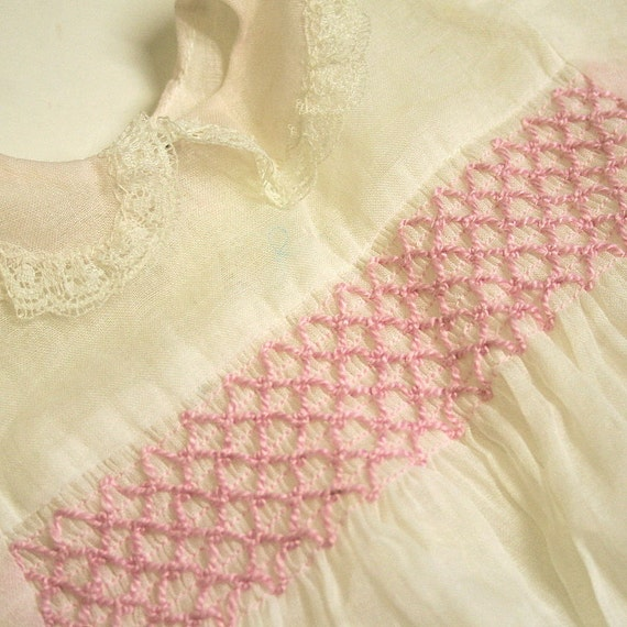 Vintage Baby 9 month White and Pink Smocked Handmade Dress
