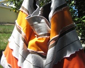RePurposed Orange and Gray Tee Shirt Bag