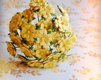 Saffron yellow Blossoms Vintage style Millinery Flower Bouquet - for decorating, gift wrapping, weddings, party supply, holiday
