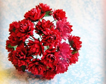Cranberry red Dahlias Vintage style Millinery Flower Bouquet - for decorating, gift wrapping, weddings, party supply, holiday
