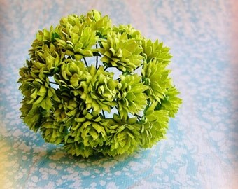 Chartreuse green Dahlias Vintage style Millinery Flower Bouquet - for decorating, gift wrapping, weddings, party supply, holiday