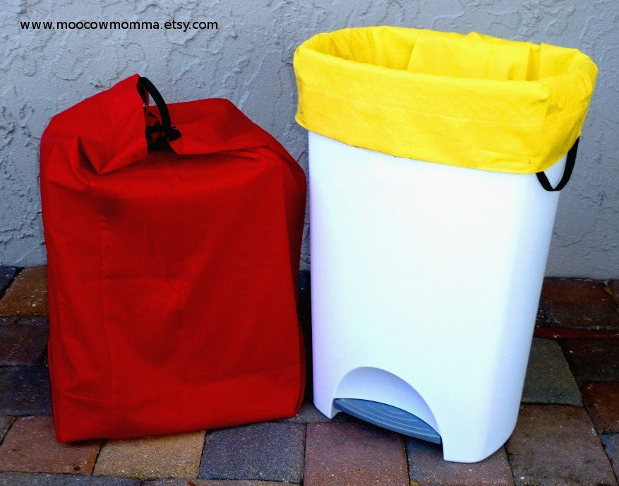 two reusable recycling can garbage bags red and yellow. Black Bedroom Furniture Sets. Home Design Ideas