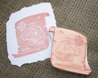 Treasure Map Rubber Stamp Hand Carved
