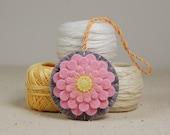 Flower Scissor Fob • Scissor Charm • Pink Dahlia • Hand Embroidered • Wool Felt • Grey