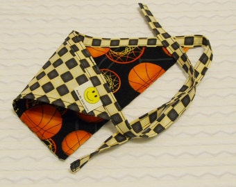 SALE Dog Bandana withCheckerboard Design & Basketballs in SMALL Tie Style Ready to Ship