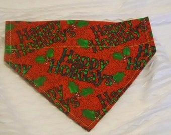 Dog Collar Bandana with  Happy Holidays Sizes M to XL