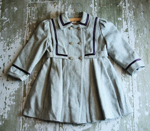 Vintage Rothschild Girls Pea Coat Size 5 with Nautical Buttons