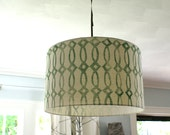 "20"" Block Print Trellis Design Drum Pendant light fixture READY TO SHIP"