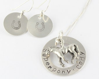 Horse Necklace Horseshoe Earrings Personalized Custom Sterling Silver Hand Stamped - Christmas Gift