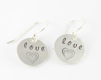 Love Heart Dangle Earrings - Sterling Silver - Hand Stamped - Handstamped