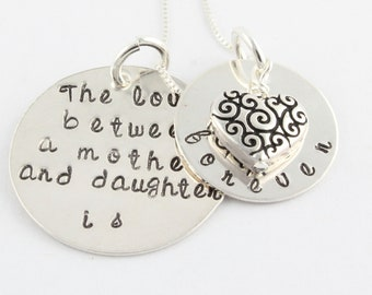 Personalized Heart Necklace - Mother's Day Gift For Mom - Gift For Grandma - Custom Gift - Sterling Silver Necklace - Handstamped Necklace